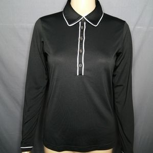 Adidas black long sleeve golf polo